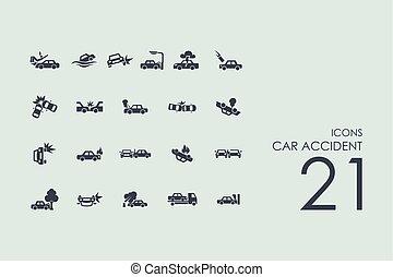 Un conjunto de iconos de accidentes de coche