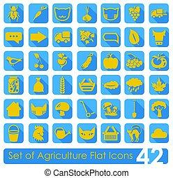 Un conjunto de iconos de agricultura