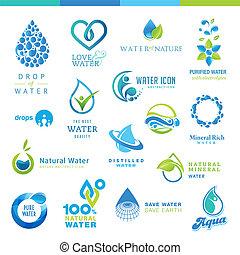 Un conjunto de iconos de agua