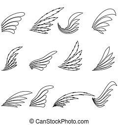 Un conjunto de iconos de alas