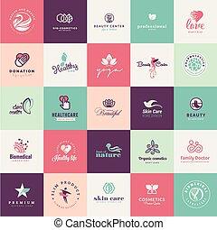 Un conjunto de iconos de belleza de diseño plano