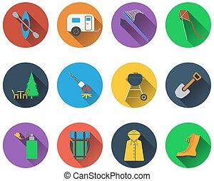 Un conjunto de iconos de campamento