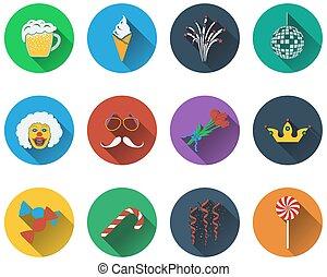 Un conjunto de iconos de celebración