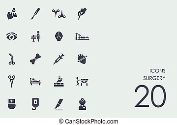 Un conjunto de iconos de cirugía