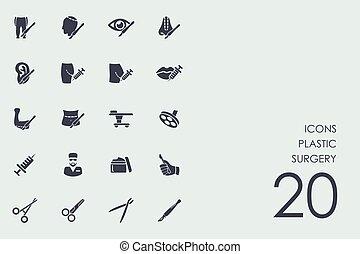 Un conjunto de iconos de cirugía plástica