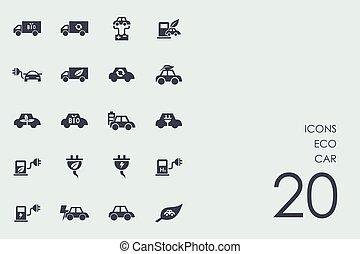Un conjunto de iconos de coches ecológicos