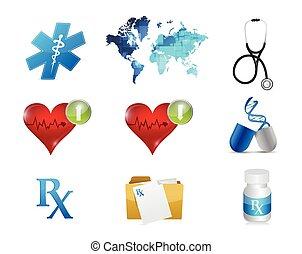 Un conjunto de iconos de conceptos médicos y de salud