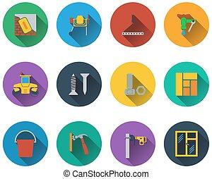 Un conjunto de iconos de construcción