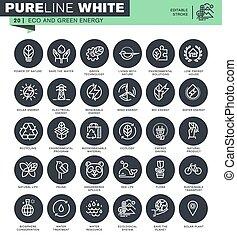 Un conjunto de iconos de delgada línea para la ecología