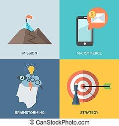 Un conjunto de iconos de diseño plano para el negocio. Misión, M-Commer