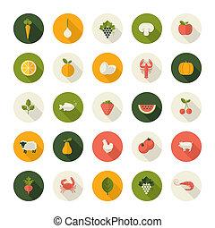 Un conjunto de iconos de diseño plano para la comida