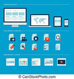 Un conjunto de iconos de diseño plano para web
