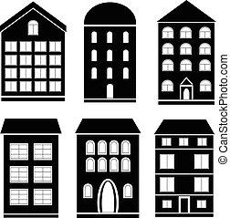 Un conjunto de iconos de edificios negros