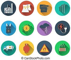 Un conjunto de iconos de energía