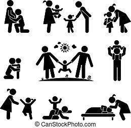 Un conjunto de iconos de familia feliz. Ilustración de pictograma.