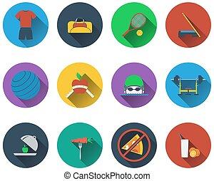 Un conjunto de iconos de fitness