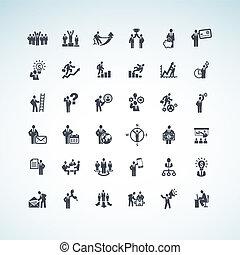 Un conjunto de iconos de gente de negocios