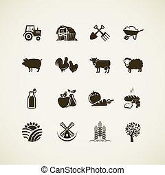 Un conjunto de iconos de granja