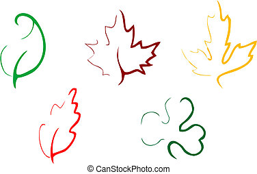 Un conjunto de iconos de hojas