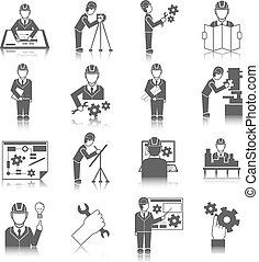 Un conjunto de iconos de ingenieros