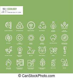 Un conjunto de iconos de línea delgada