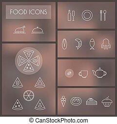 Un conjunto de iconos de línea delgada para web y móvil.