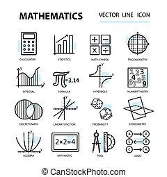 Un conjunto de iconos de línea moderna para matemáticas.