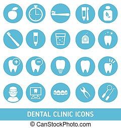 Un conjunto de iconos de la clínica dental.