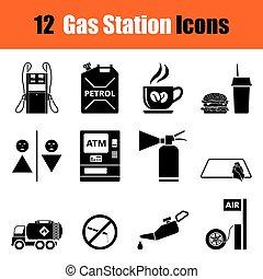 Un conjunto de iconos de la estación de gasolina
