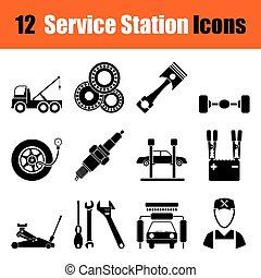 Un conjunto de iconos de la estación de servicio