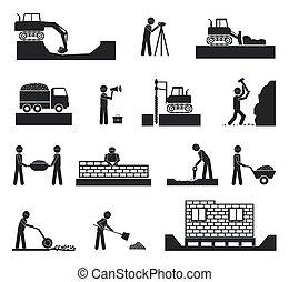 Un conjunto de iconos de la industria constructora
