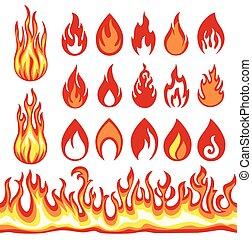 Un conjunto de iconos de llamas. Simbolos de fuego.