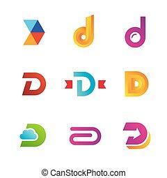Un conjunto de iconos de logo D diseño elementos de plantilla