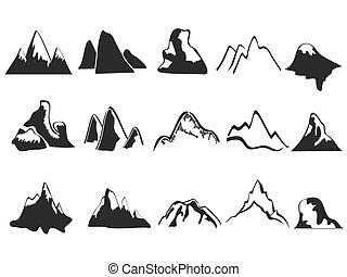 Un conjunto de iconos de montaña