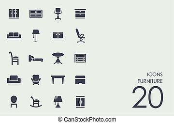 Un conjunto de iconos de muebles