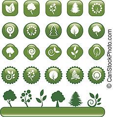 Un conjunto de iconos de naturaleza verde
