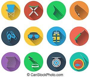 Un conjunto de iconos de pesca