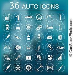 Un conjunto de iconos de servicio de coches