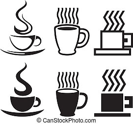 Un conjunto de iconos de tazas de café