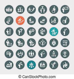 Un conjunto de iconos del concepto de negocios