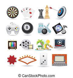 Un conjunto de iconos del entretenimiento