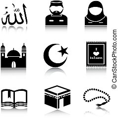Un conjunto de iconos del Islam