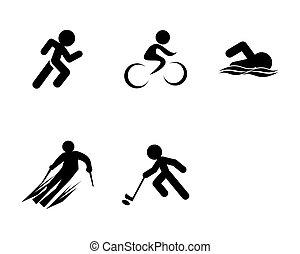 Un conjunto de iconos deportivos de triatlón