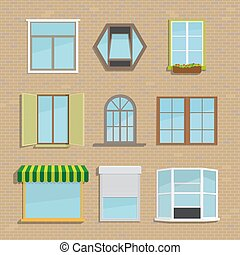 Un conjunto de iconos diferentes tipos de ventanas