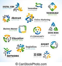 Un conjunto de iconos empresariales abstractos