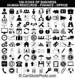 Un conjunto de iconos empresariales, recursos humanos, finanzas y oficinas