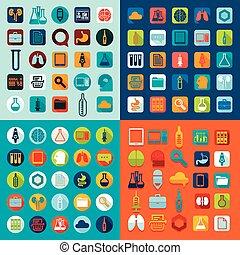 Un conjunto de iconos medicinales