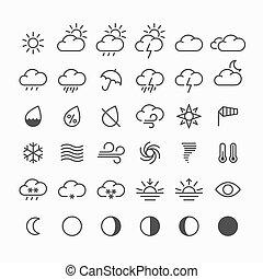 Un conjunto de iconos meteorológicos finos