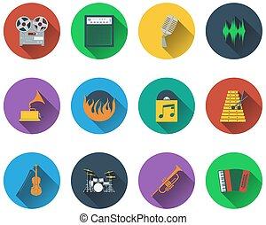 Un conjunto de iconos musicales