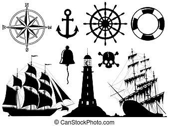 Un conjunto de iconos náuticos